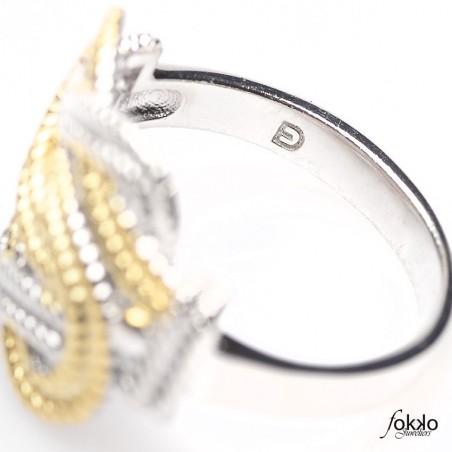 Surinaamse mattenklopper ring goud met zilver van Fokko Design